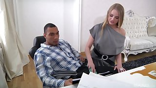 Slim office babe is keen to try the black boss's heavy dong