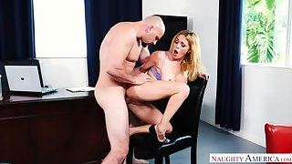 Caucasian Krissy Lynn fucking in make an issue of chair with their way big tits