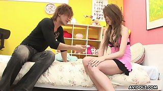 Asian rimjob expert Moe Yazawa  enjoys ribbons anal hole in 69 style affectedness