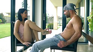 Tempting brunet babe Lady D is fucked and jizzed by new go steady with