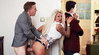 Wife hardcore fucks behind back for her husband