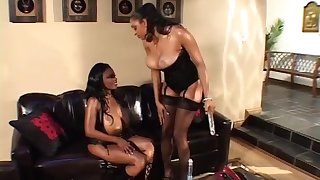 Ebony couple milf play on chum around with annoy love-seat with giant port side dildo, lick eachother and squirt on face